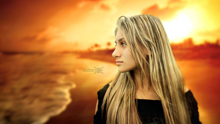 Portrait on sunset background