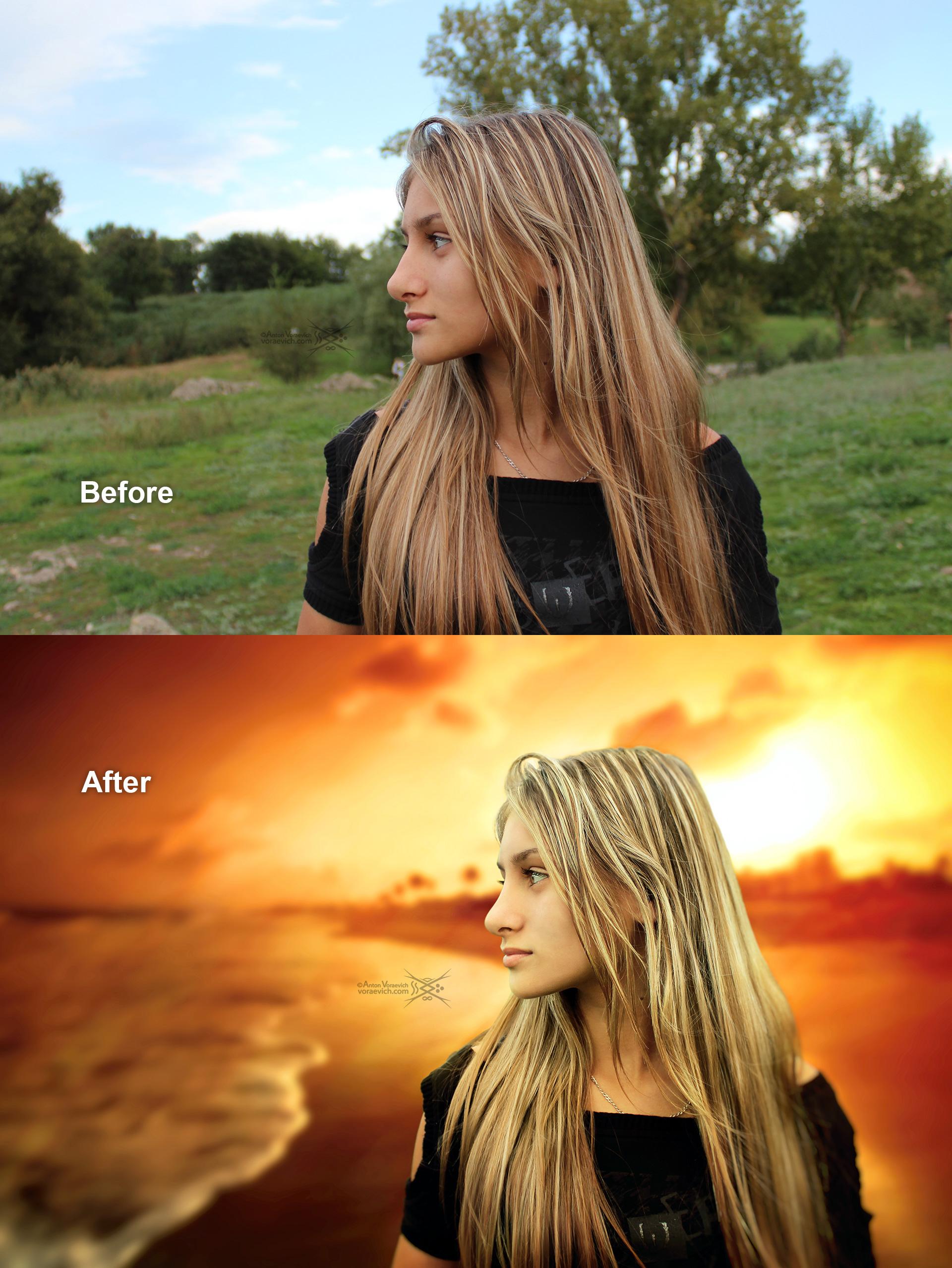 Portrait on sunset background