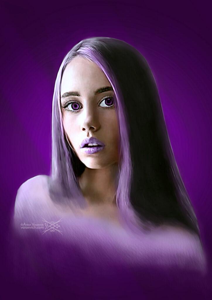 Digital Art – Surprised Purple Mist Cutie